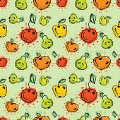 Seamless vector pattern. Hand drawn fruits illustration of colorful cherry, apple, pear, berry, strawberry with splash and drop, cute background. Line drawing,