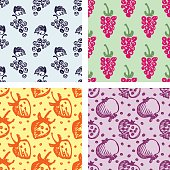 Set of seamless fruits vector patterns, endless backgrounds with strawberries, pomegranates, grape and blackberries. Hand sketch drawing. Series of Fruits and Hand Drawn seamless vector Patterns.