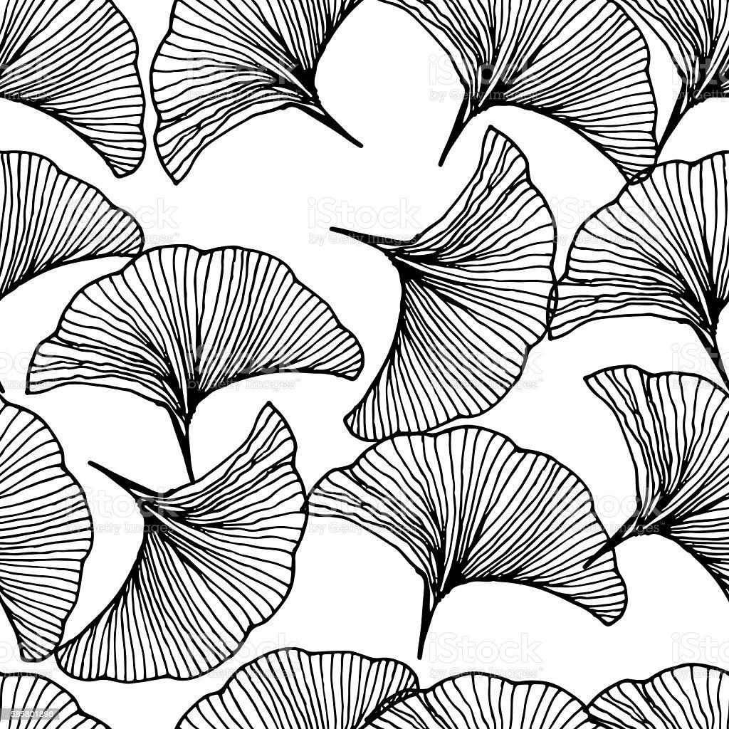 Vector seamless pattern. Hand drawn leaf of Ginkgo Biloba. vector art illustration