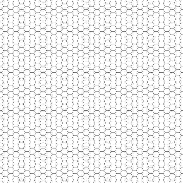 Vector seamless pattern. Hexagon grid texture. Black-and-white background. Monochrome honeycomb design. vector art illustration