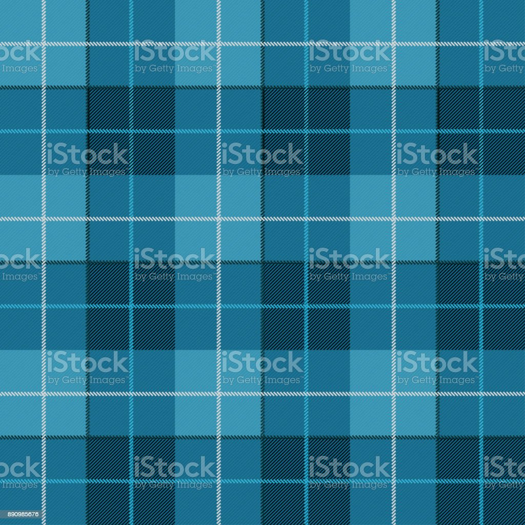 Vector seamless pattern. High detailed Scottish tartan, traditional checkered British fabric or plaid pattern. Design of fabric. Blue jeans checkered material. Seamless pattern