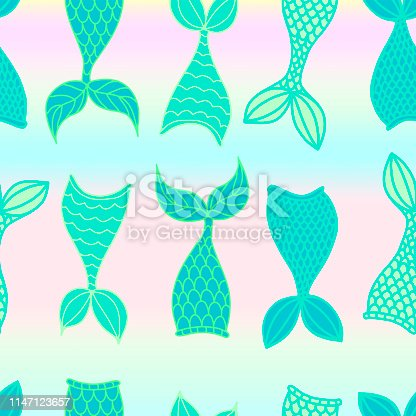 Vector seamless pattern vector illustration with mermaid theme, hand drawn tail of mermaid and starfish, shell in cartoon style for fabric print, invitation birthday card, poster. Childish design for room. EPS10