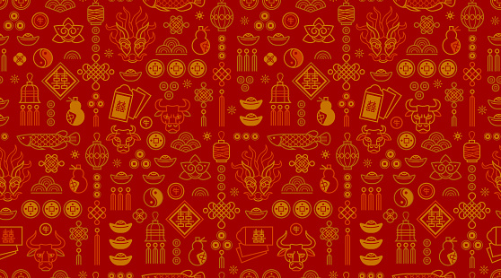 Vector seamless pattern in Chinese style design, gold elements on white background. Ox Zodiac sign, Symbol of 2021 on the Chinese calendar.
