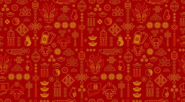 중국 스타일 디자인의 벡터 매끄러운 패턴, 흰색 배경의 골드 요소. 황소 조디악 기호, 중국 달력에 2021의 상징. - chinese new year stock illustrations