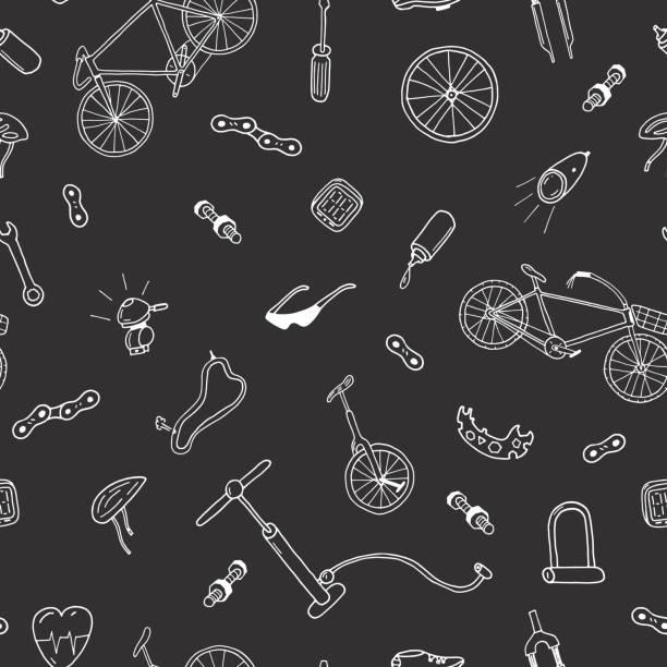 Nahtlose Vektormuster in Doodle-Stil. Fahrradzubehör. – Vektorgrafik