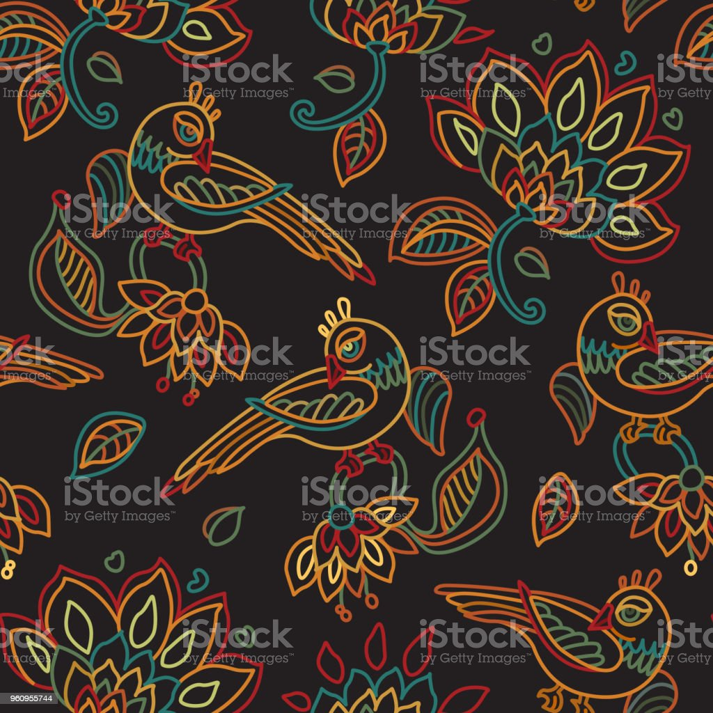 Vector seamless pattern in ethnic style.Exotic birds, colorful contour thin line fantasy flowers with folk ornaments on a black background. Embroidery silhouette, wallpaper, textile print, wrapping paper vector art illustration