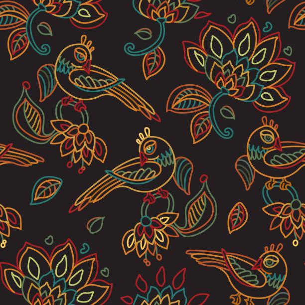 stockillustraties, clipart, cartoons en iconen met vector naadloze patroon in etnische stijl. exotische vogels, kleurrijke contour dunne lijn fantasie bloemen met folk ornamenten op een zwarte achtergrond. borduurwerk silhouet, behang, textiel afdrukken, inpakpapier - batik