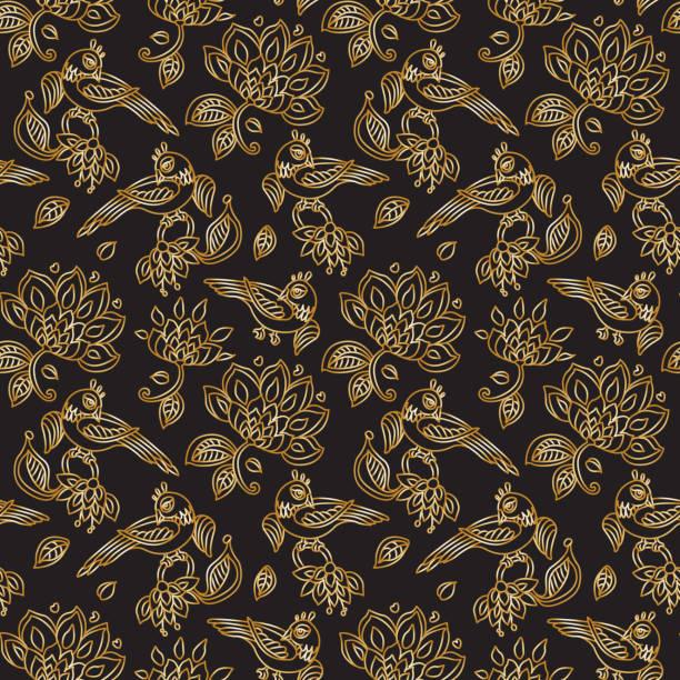 stockillustraties, clipart, cartoons en iconen met vector naadloze patroon in etnische stijl. exotische vogels, gouden contour dunne lijn fantasie bloemen met folk ornamenten op een zwarte achtergrond. borduurwerk silhouet, behang, textiel afdrukken, inpakpapier - batik