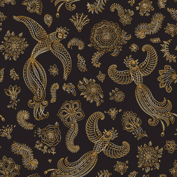 Vector seamless pattern in ethnic style.Exotic flying birds, golden contour thin line fantasy flowers with folk ornaments on a black background. Embroidery, gold wallpaper, textile print, wrapping paper Vector seamless pattern in ethnic style.Exotic flying birds, golden contour thin line fantasy flowers with folk ornaments on a black background. Embroidery, gold wallpaper, textile print, wrapping paper indonesia stock illustrations