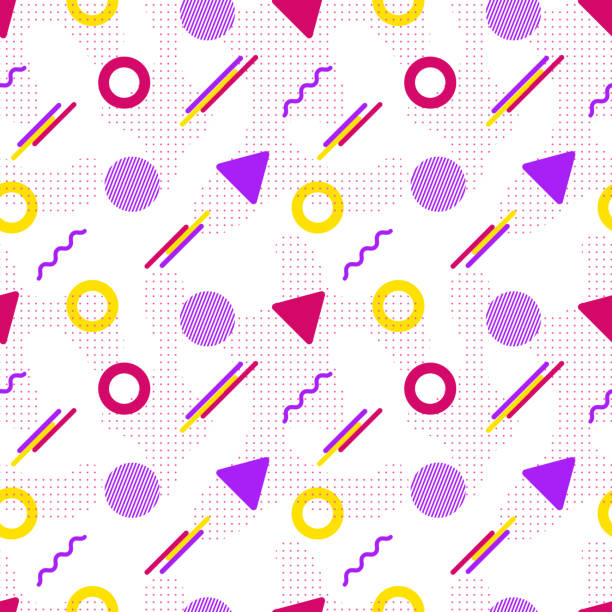 Vector seamless pattern in modern style. Vector seamless pattern in modern style. Abstract background with geometric elements. Pattern in hipster style. Fresh idea for posters, web pages, postcards, fabric or wrapping paper kitsch stock illustrations