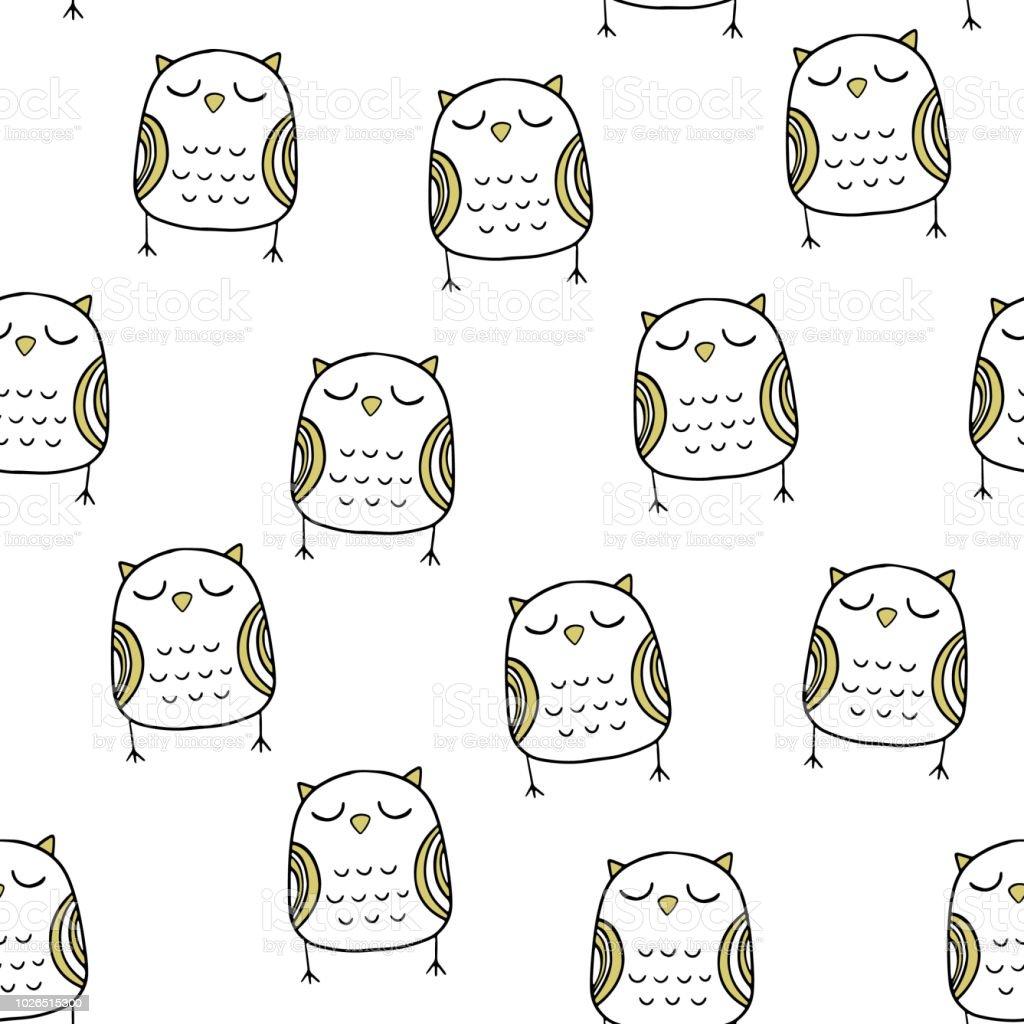 Modèle Sans Couture De Vector Dans Un Style Scandinave Belle Chouette Imprimer Des Dessin Animé Vecteurs Libres De Droits Et Plus Dimages