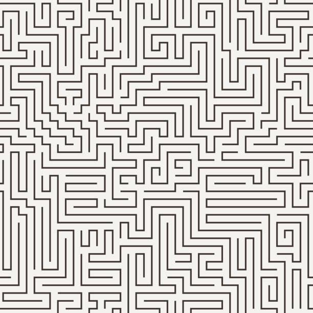vektor nahtlose muster in form von einem labyrinth - labyrinthgarten stock-grafiken, -clipart, -cartoons und -symbole