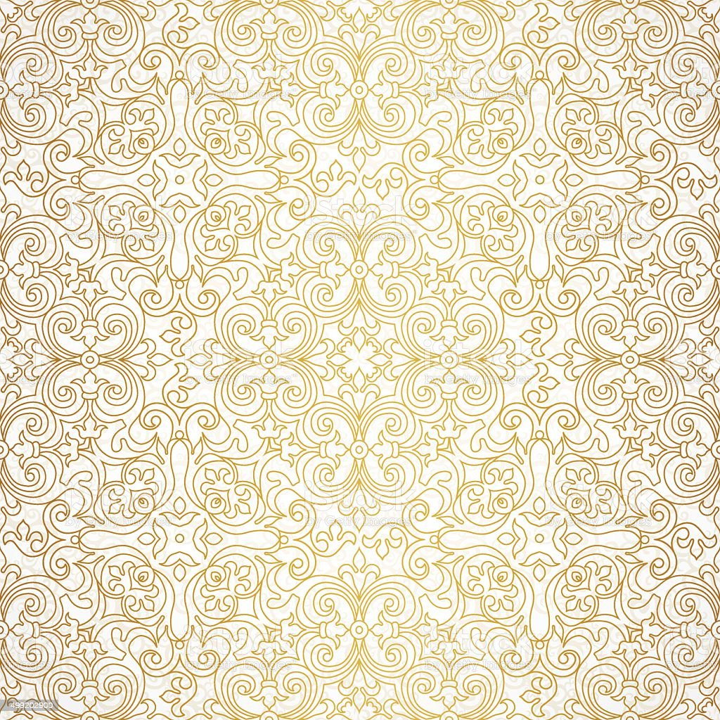 Vector seamless pattern in Victorian style. vector art illustration