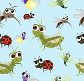 Vector Seamless pattern Insects cartoon Character design Cute style concept.