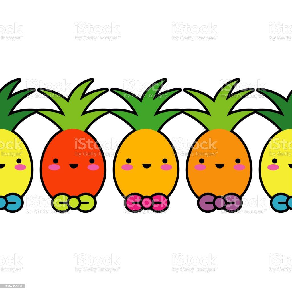 Vector Seamless Pattern Kawaii Background Cartoon Pineapple Textile