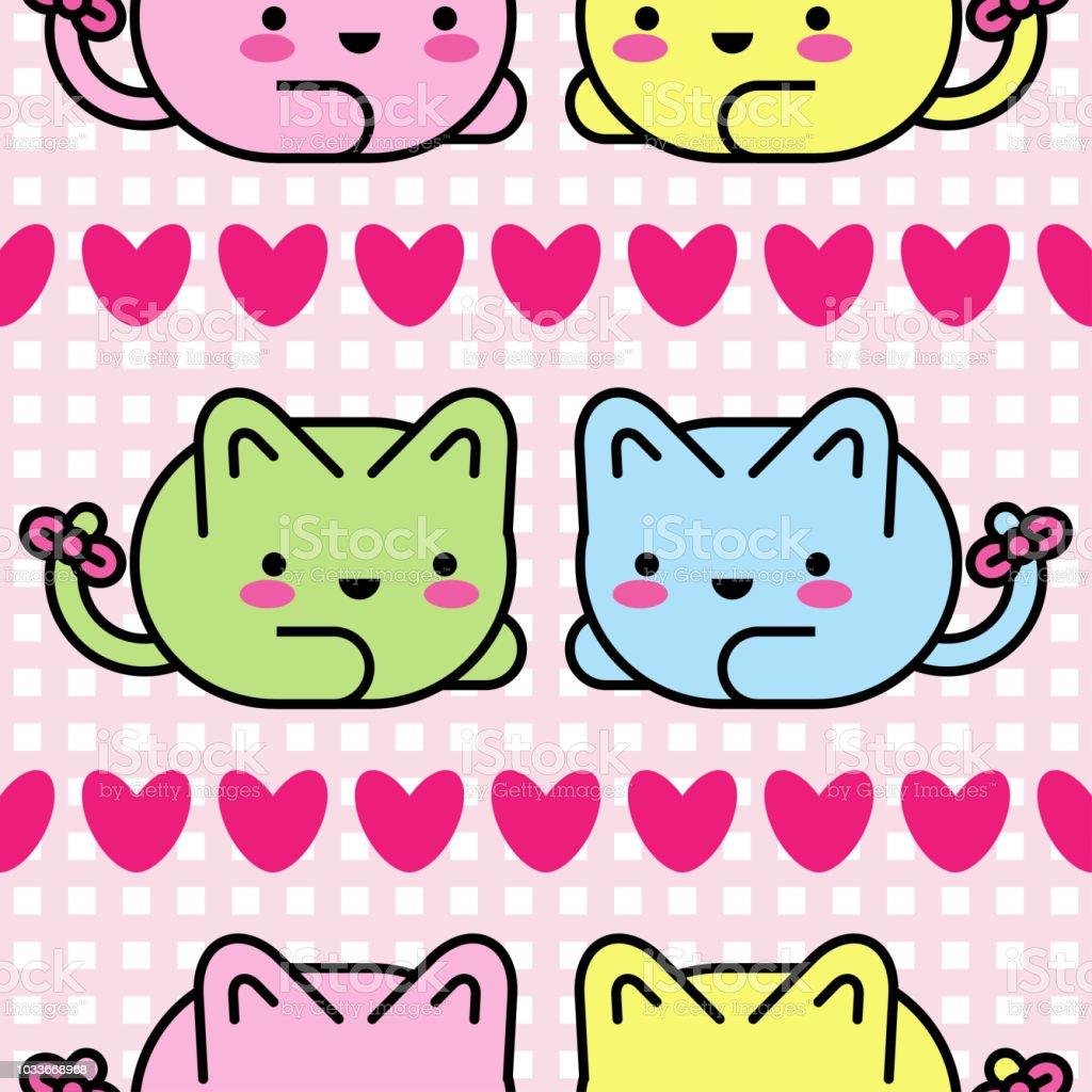 Vector Seamless Pattern Kawaii Background Cute Cartoon Cats Textile