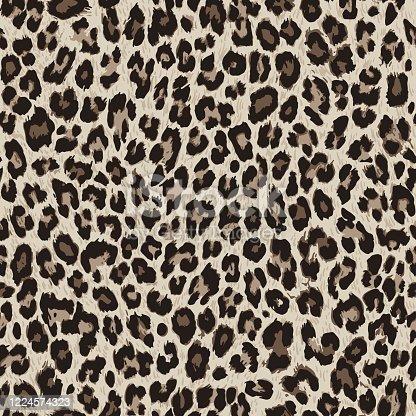 istock Vector seamless pattern. Leopard skin texture 1224574323