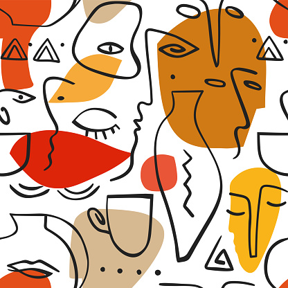 Vector seamless pattern. Line art expressive print with human faces.