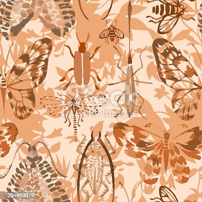 Animal exotic background. Vector seamless pattern made of watercolor insects mixed with meadow flowers and plants silhouettes. Hand drawn butterflies, beetles, dragonfly, bee. Watercolor texture.