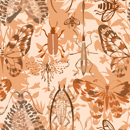 Vector seamless pattern made of insects mixed with flowers