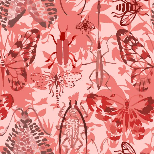 bildbanksillustrationer, clip art samt tecknat material och ikoner med vektor sömlöst mönster av insekter blandat med blommor - abstract silhouette art