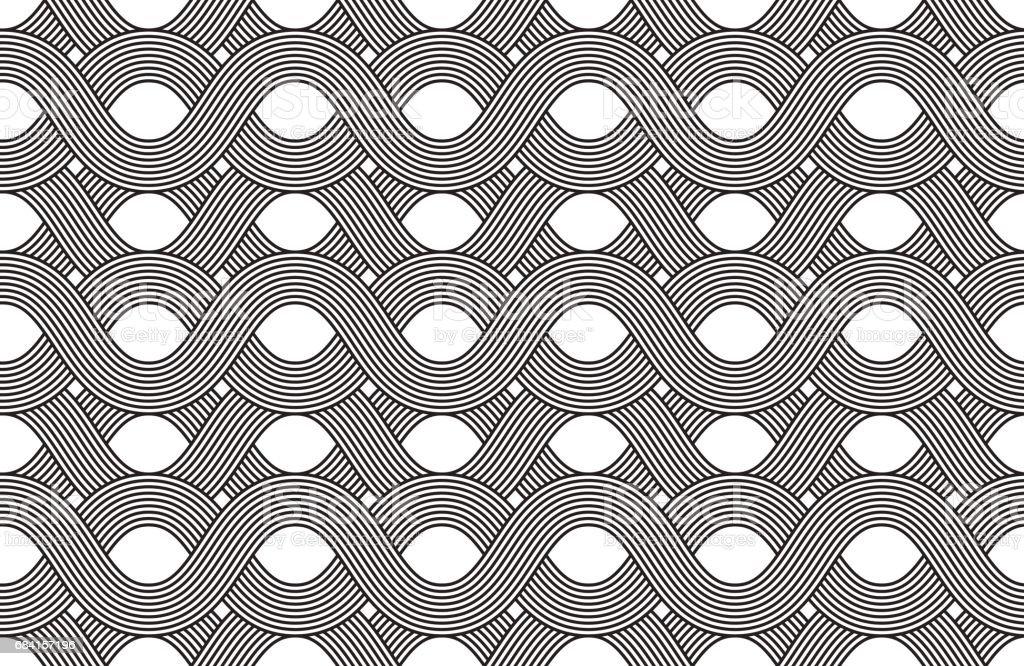 Vector seamless pattern. Modern stylish texture. Geometric striped ornament. Monochrome linear weaving. vector seamless pattern modern stylish texture geometric striped ornament monochrome linear weaving - immagini vettoriali stock e altre immagini di anello - gioiello royalty-free