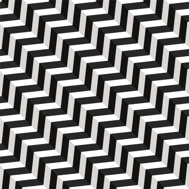vector seamless pattern. modern stylish texture. repeating geometric tiles with volume diagonal zigzag - black and white pattern stock illustrations, clip art, cartoons, & icons