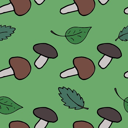 vector seamless pattern, mushrooms and leaves on a green background