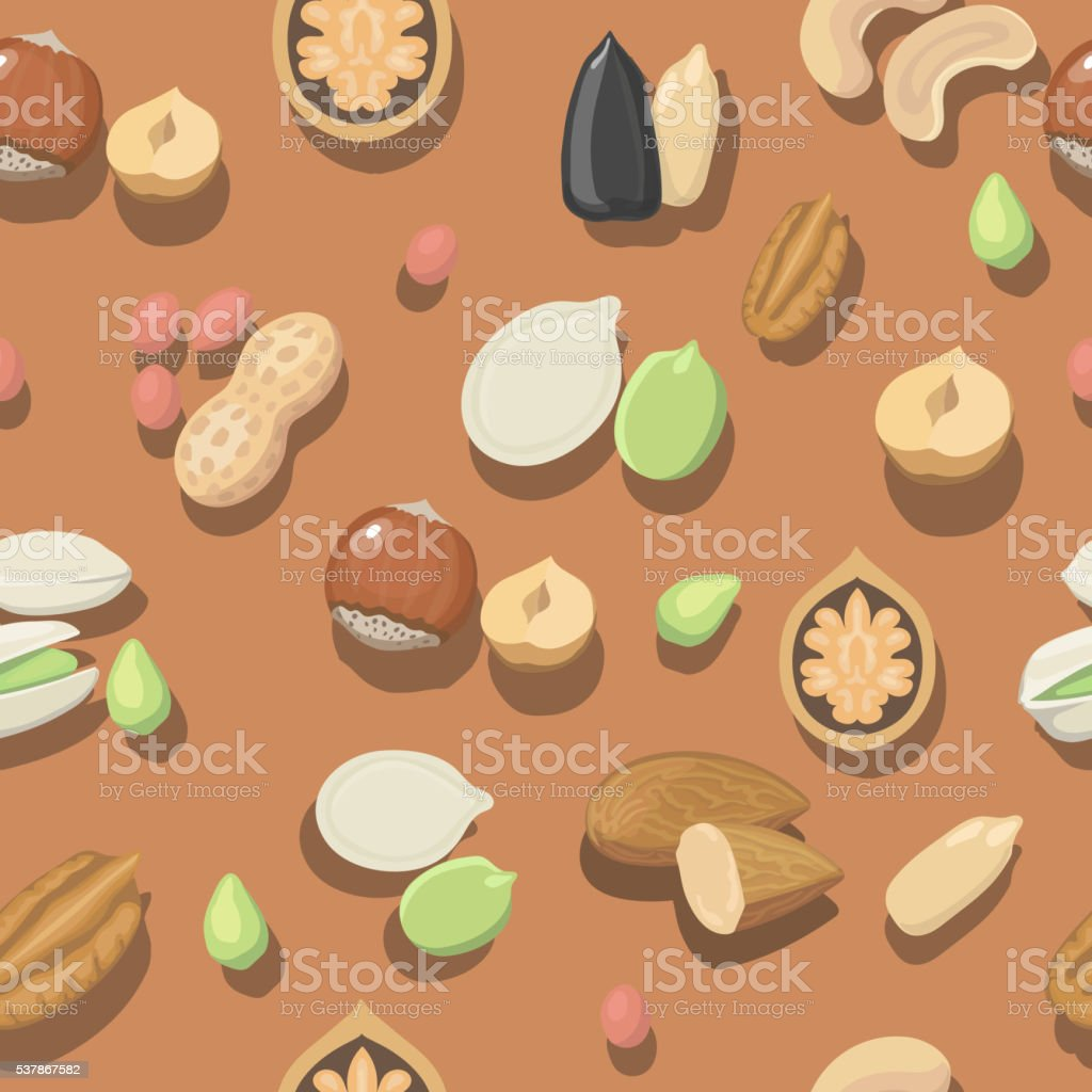 Vector seamless pattern nuts hazelnut, almonds, peanuts, walnut cashew pistachios vector art illustration
