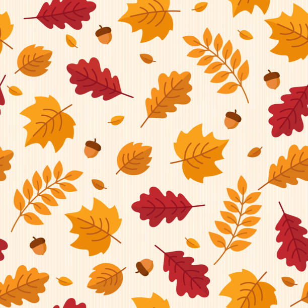 vector seamless pattern of autumn leaves and acorns. - autumn stock illustrations