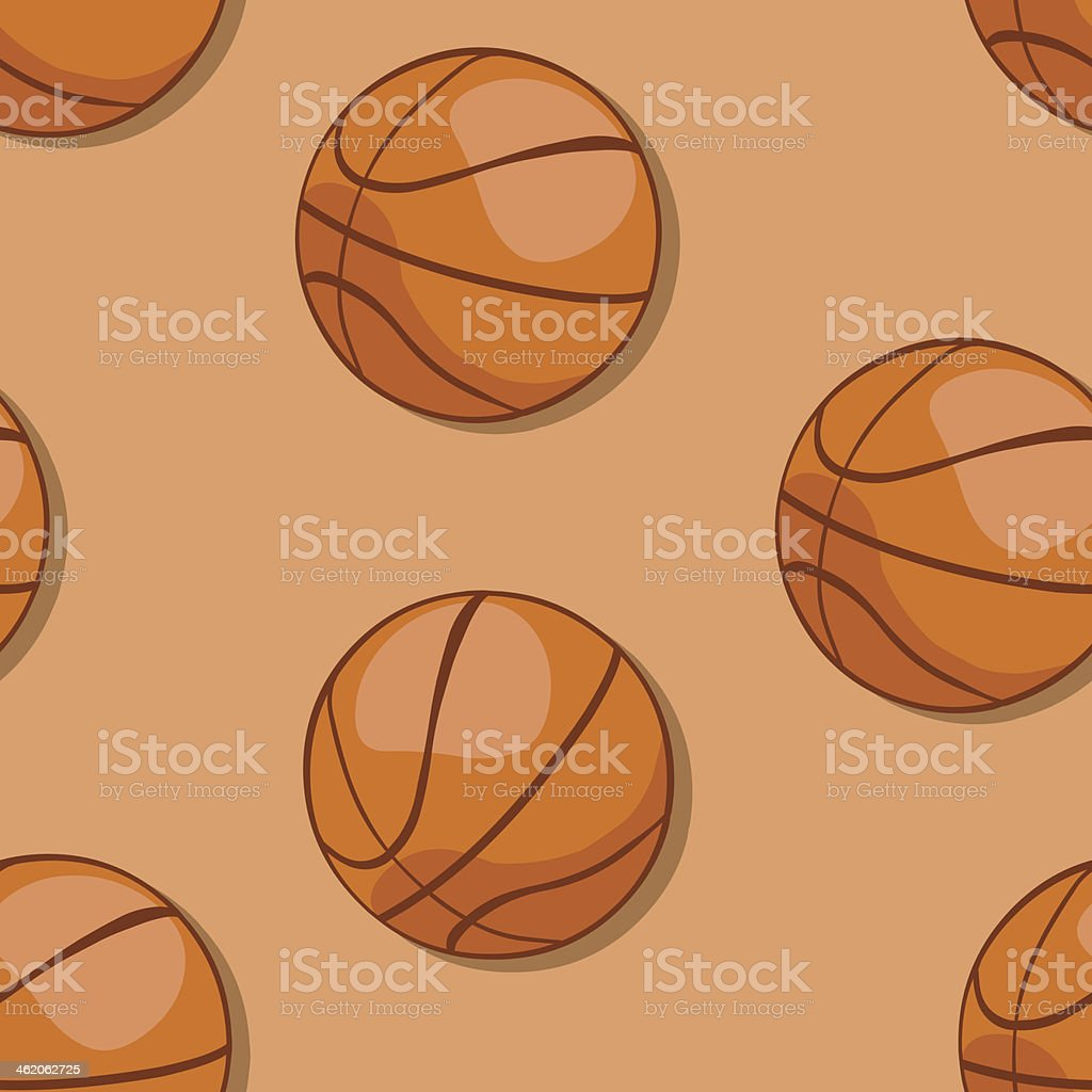 vector seamless pattern of basketball balls  on brown background royalty-free stock vector art