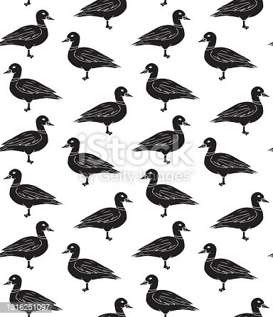 istock Vector seamless pattern of black hand drawn doodle sketch duck 1316251097