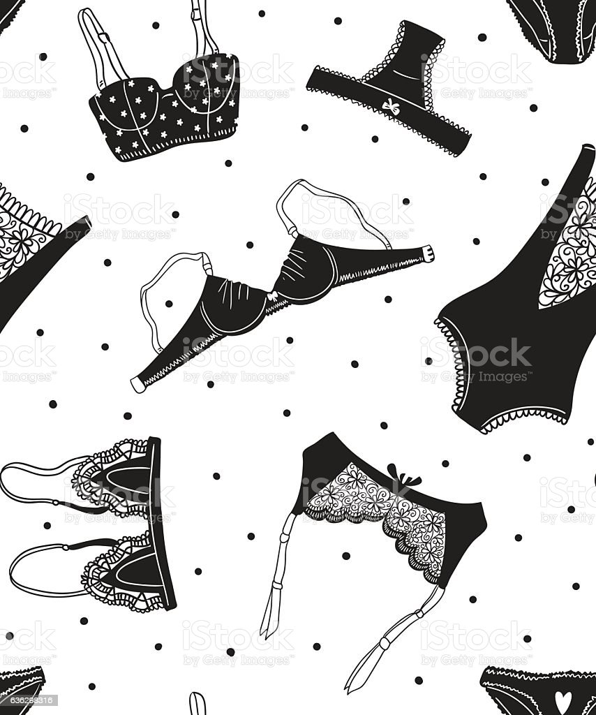 Vector seamless pattern of black women's underwear on white background. vector art illustration