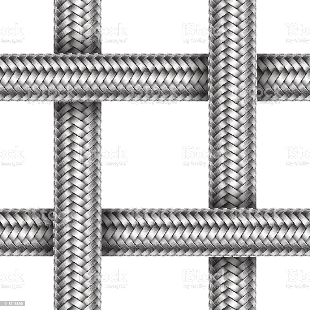 Vector seamless pattern of braided metal cable vector art illustration