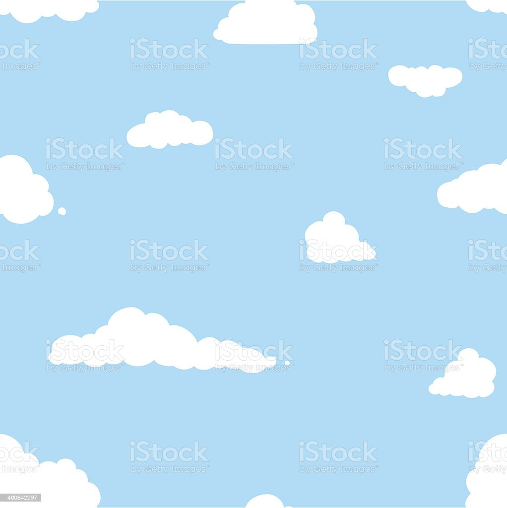 vector seamless pattern of clouds on blue background vector art illustration