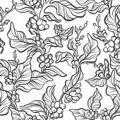 Vector seamless pattern of coffee tree, branch, leaves, bean. Natura simple print, tropical background Floral silhouette, hand draw art line illustration Exotic texture Summer plantation, rich harvest