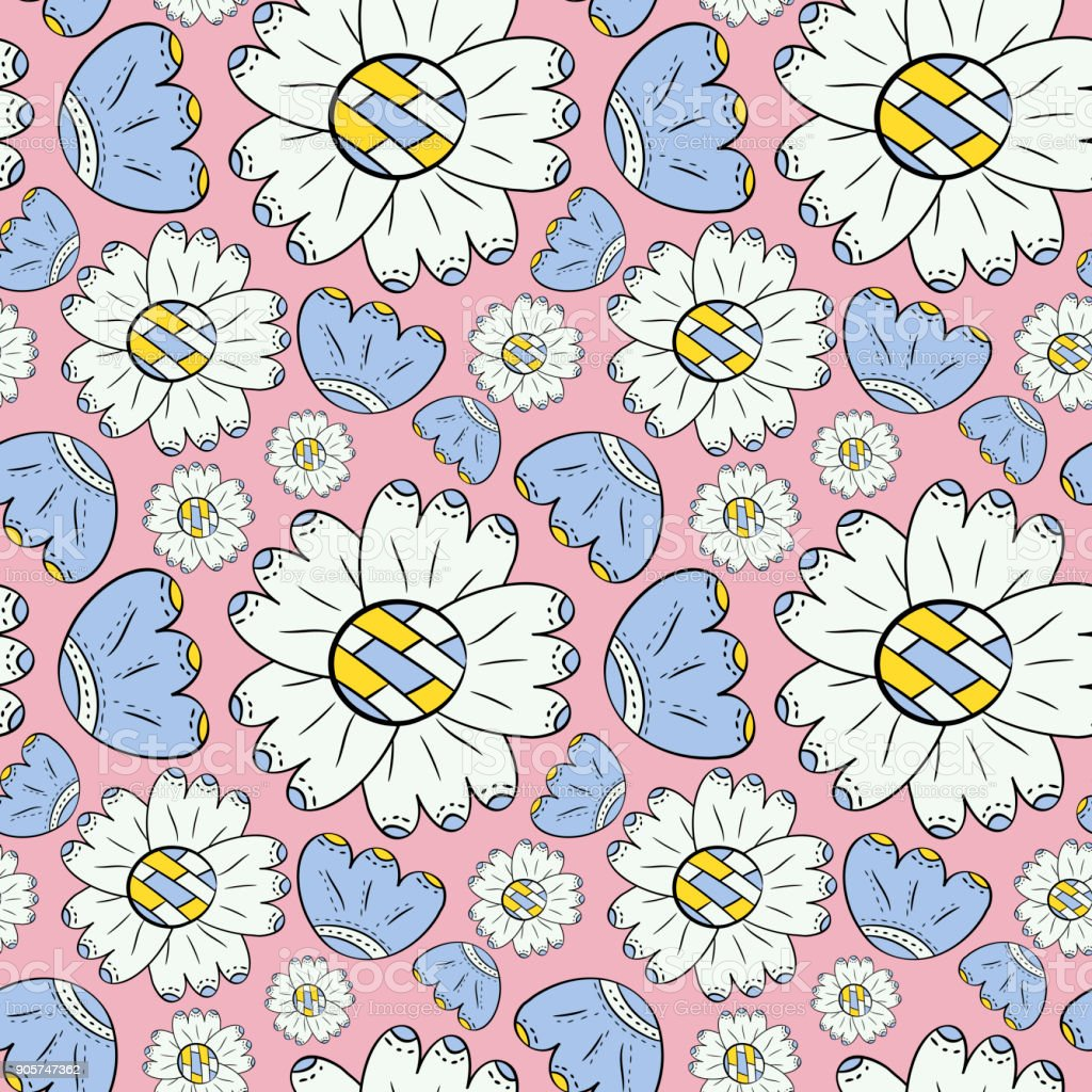 Vector seamless pattern of color flowers may lily and sunflowers in vector seamless pattern of color flowers may lily and sunflowers in scandinavian style hand drawn on izmirmasajfo