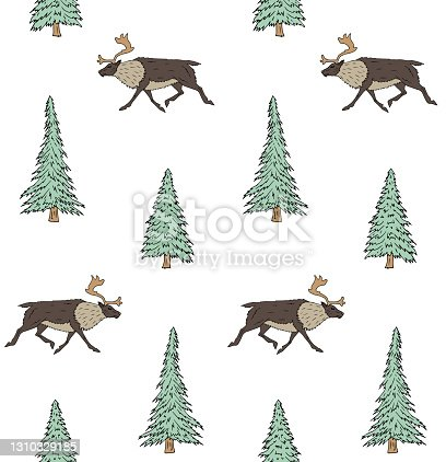 istock Vector seamless pattern of colored hand drawn doodle sketch reindeer and spruce tree 1310329185