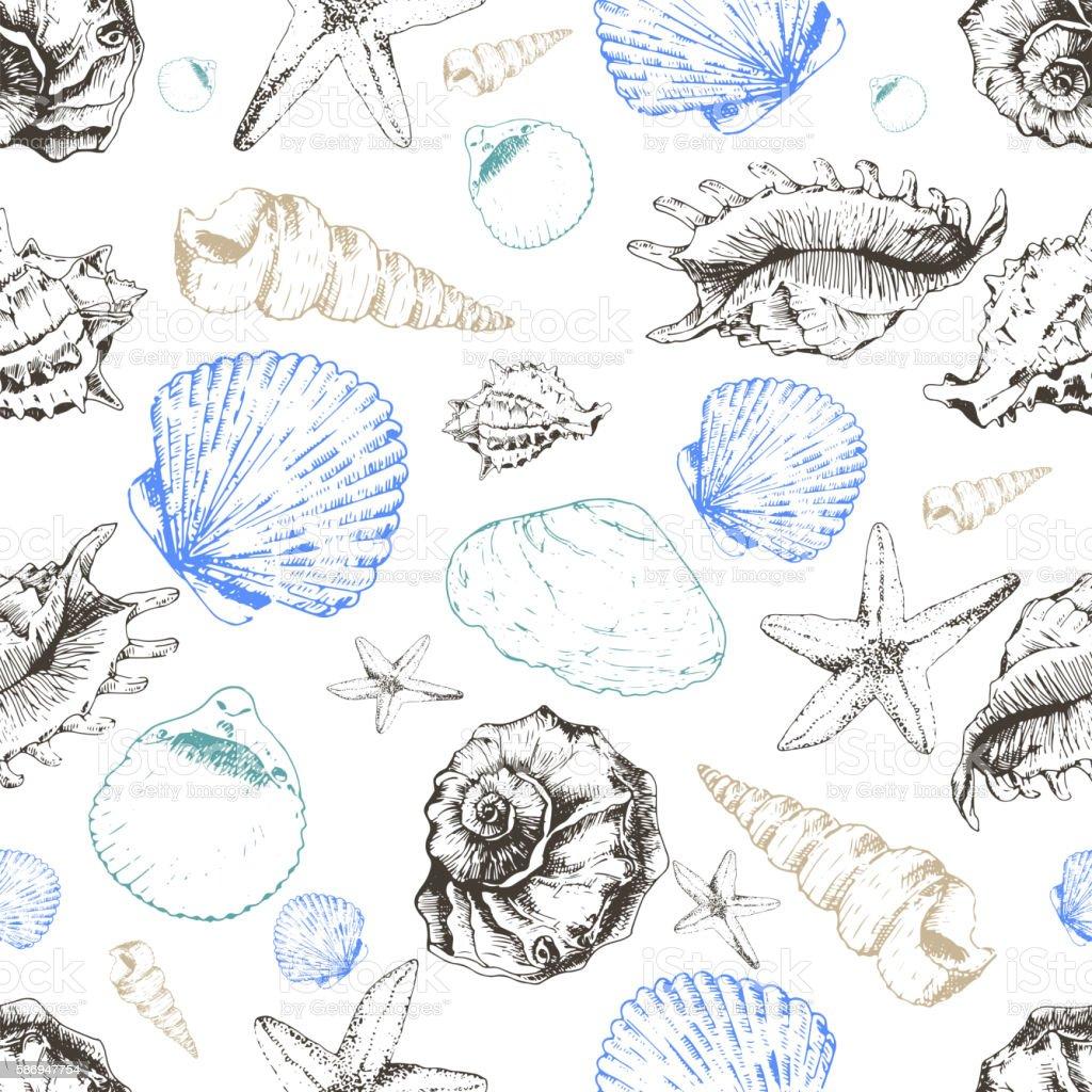 Vector seamless pattern of colored seashells. Hand drawn vector art illustration