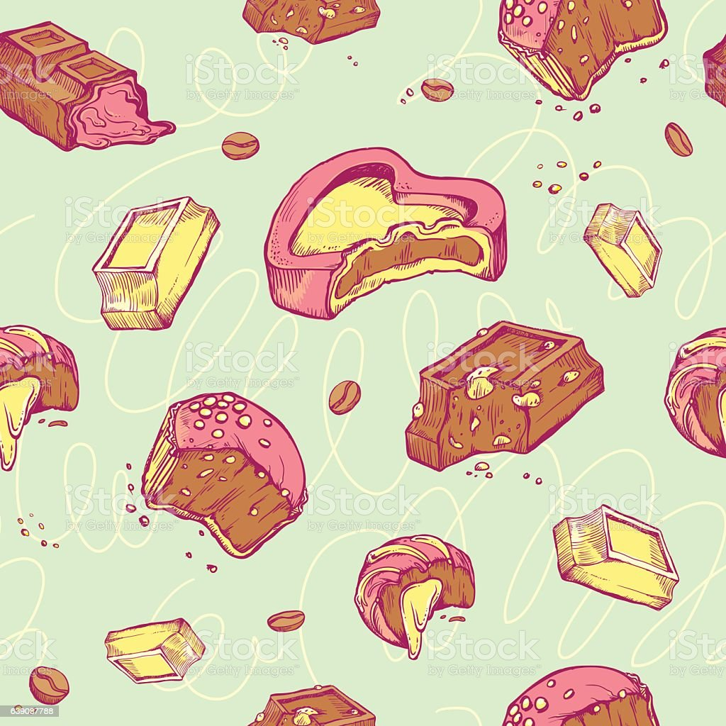 Vector seamless pattern of colored sketches bitten chocolates. Sweet rolls vector art illustration