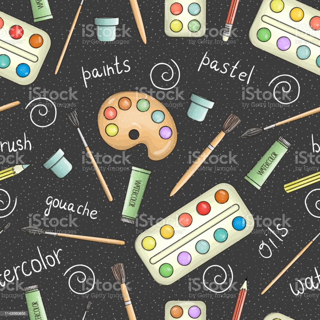 Vector seamless pattern of colored stationery and art supplies on...