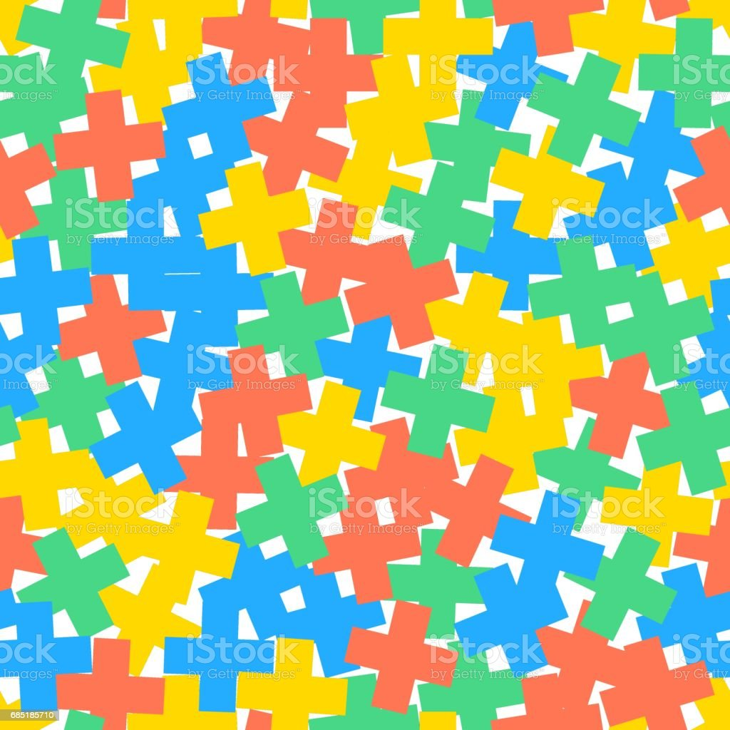 Vector seamless pattern of crosses or plus signs. Scattered and randomly rotated colorful shapes. royalty-free vector seamless pattern of crosses or plus signs scattered and randomly rotated colorful shapes stock vector art & more images of abstract