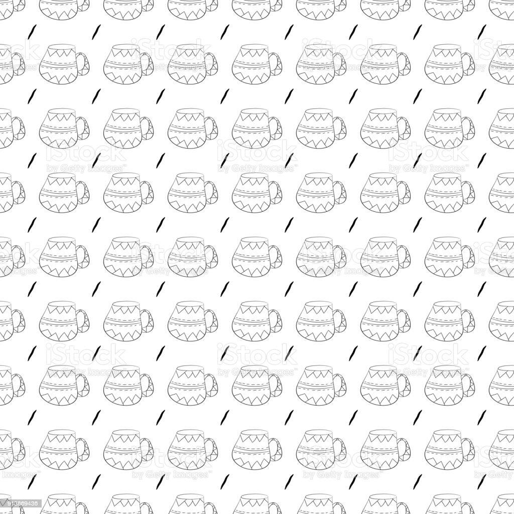 Ilustración de Patrón Transparente De Vector De Tazas De Café Té ...