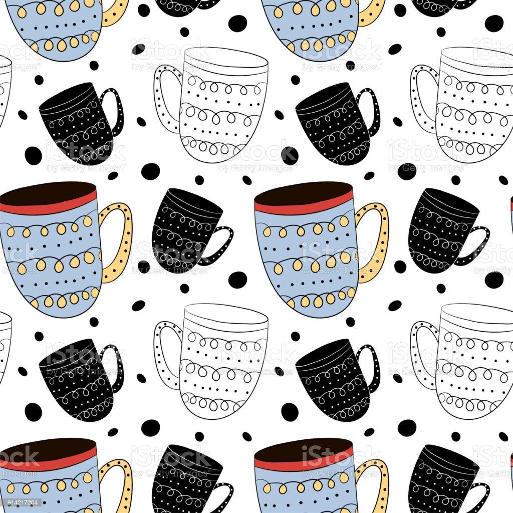 Modèle Sans Couture De Vecteur De Tasses De Café Thé Lait