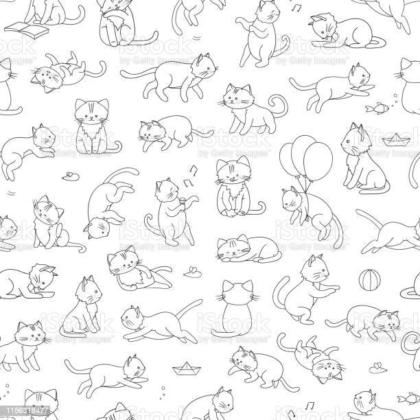 Vector seamless pattern of cute cartoon style cat in different poses vector id1156318477?b=1&k=6&m=1156318477&s=612x612&h=cwkav8ejasyy wi9dxw1orrzgpa7ajwnflu7w23ae0k=