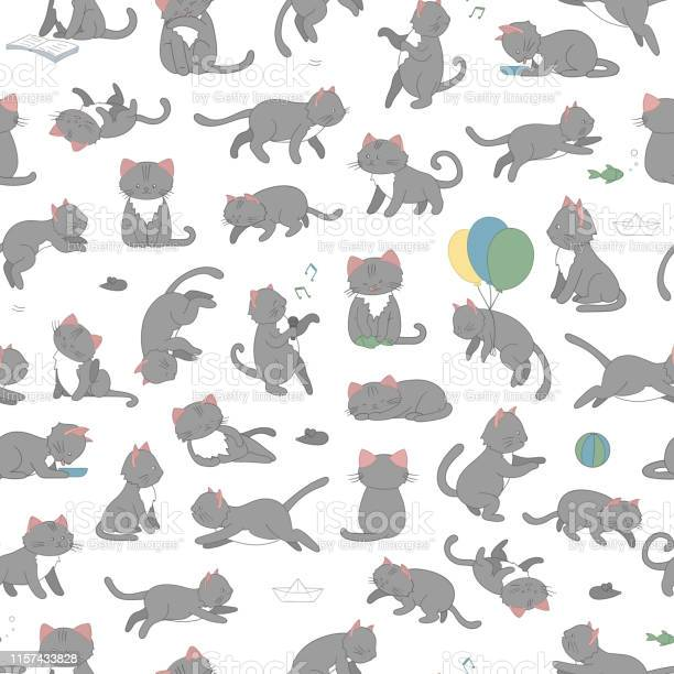 Vector seamless pattern of cute cartoon style cat in different poses vector id1157433828?b=1&k=6&m=1157433828&s=612x612&h=utwavzodphbzz18ia8x9ktkqqf6mbuz0psplvhxfuxo=