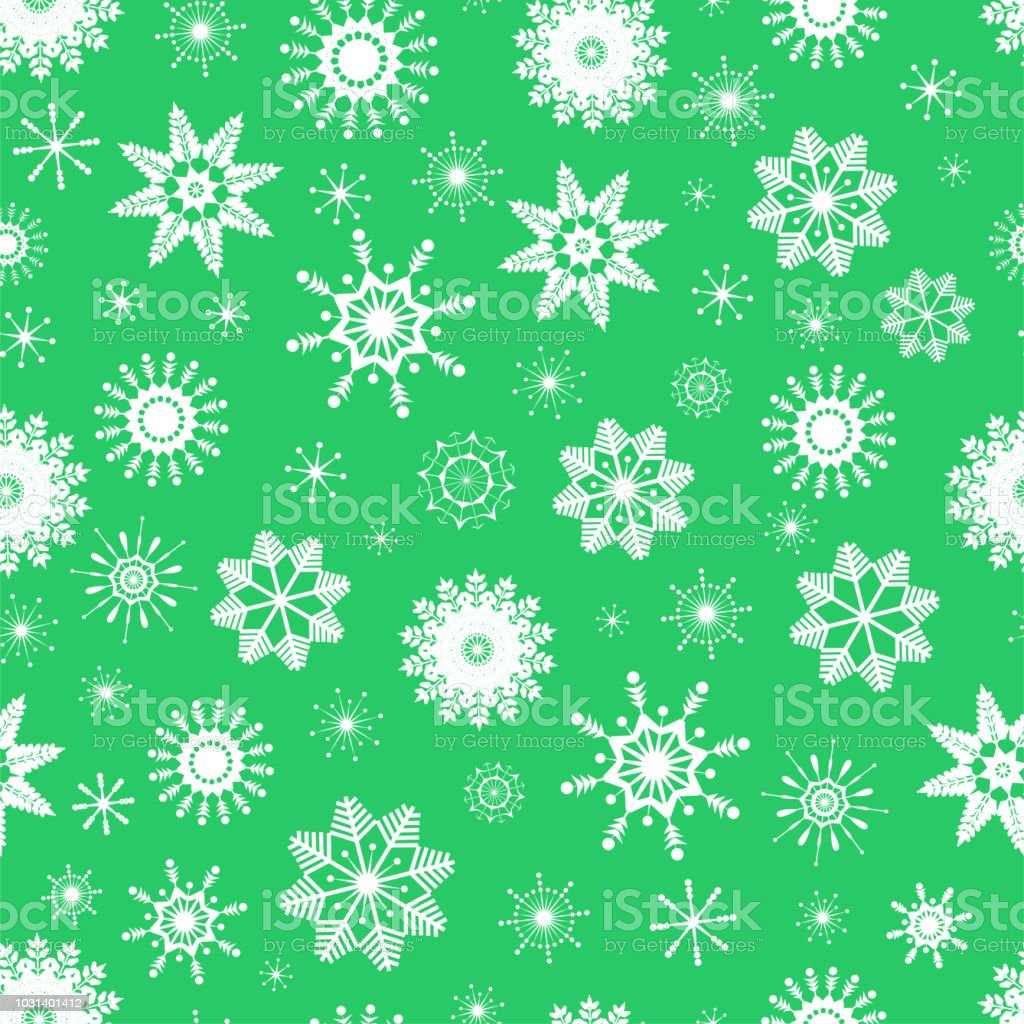 Vector Seamless Pattern Of Cute White Snowflakes On Light Green