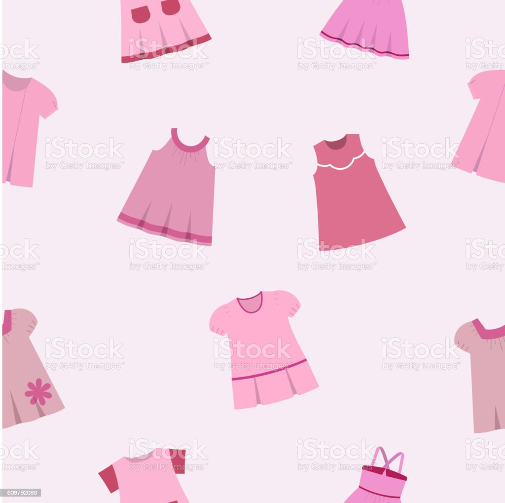 81c8e3a1353a Vector Seamless Pattern Of Different Pink Dresses For Baby Girls ...