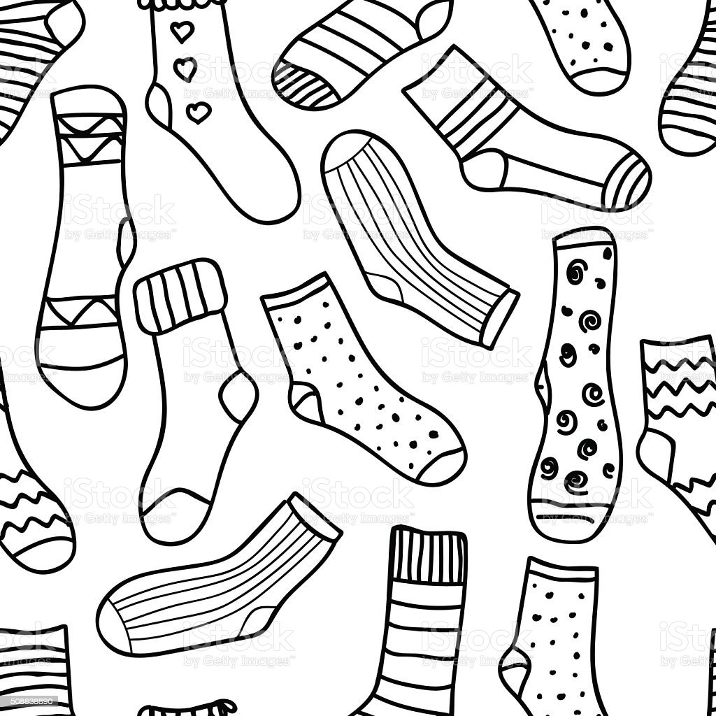 Ilustración de Vector De Sin Costura Patrón De Doodle Calcetines ...
