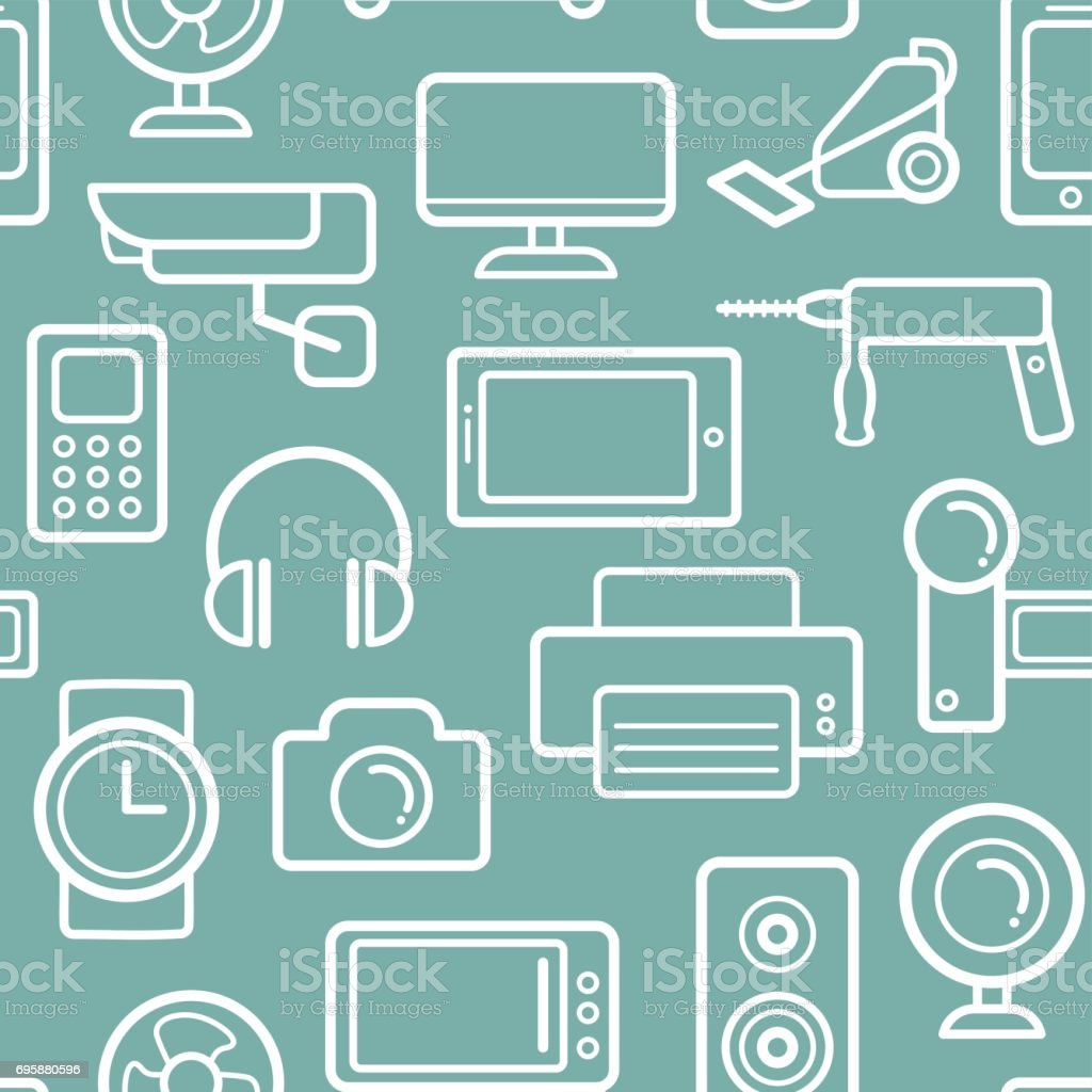 Vector Seamless Pattern Of Electrical Engineering Household ...
